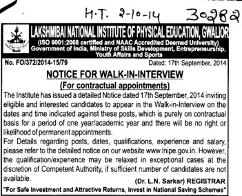 Contractual appointments (Lakshmibai National University of Physical Education (LNUPE))