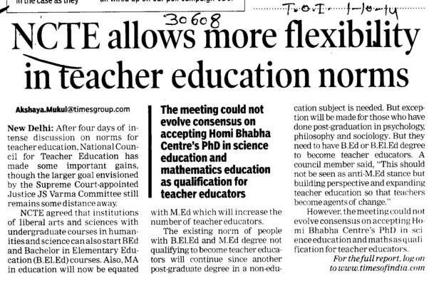 NCTE allows more flexibility in teacher education norms (National Council for Teacher Education NCTE)