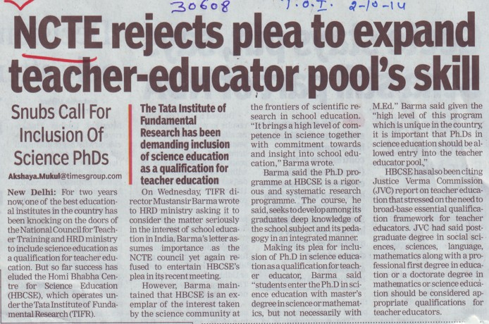 NCTE rejects plea to expand teacher educator pools skill (National Council for Teacher Education NCTE)