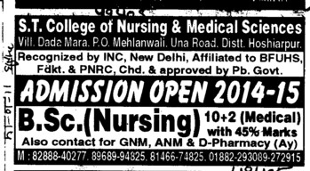 BSc Nursing Course (ST College of Nursing and Medical Sciences Mehlanwali)