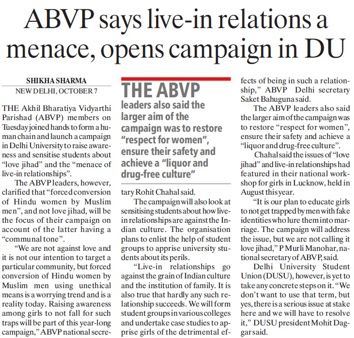 ABVP says live in relations a menace (Delhi University)