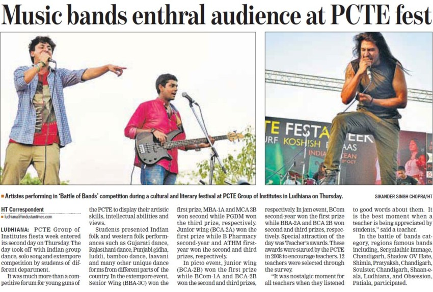 Music bands enthral audience at PCTE fest (PCTE Group of Insitutes Baddowal)