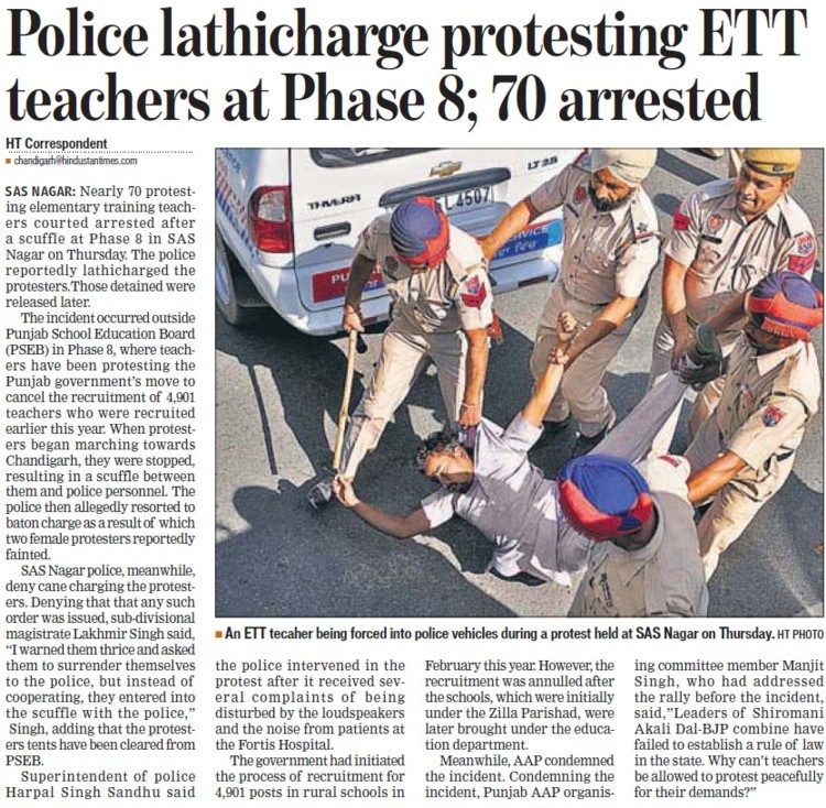 Police lathicharge protesting ETT teachers (ETT Teachers Union Punjab)