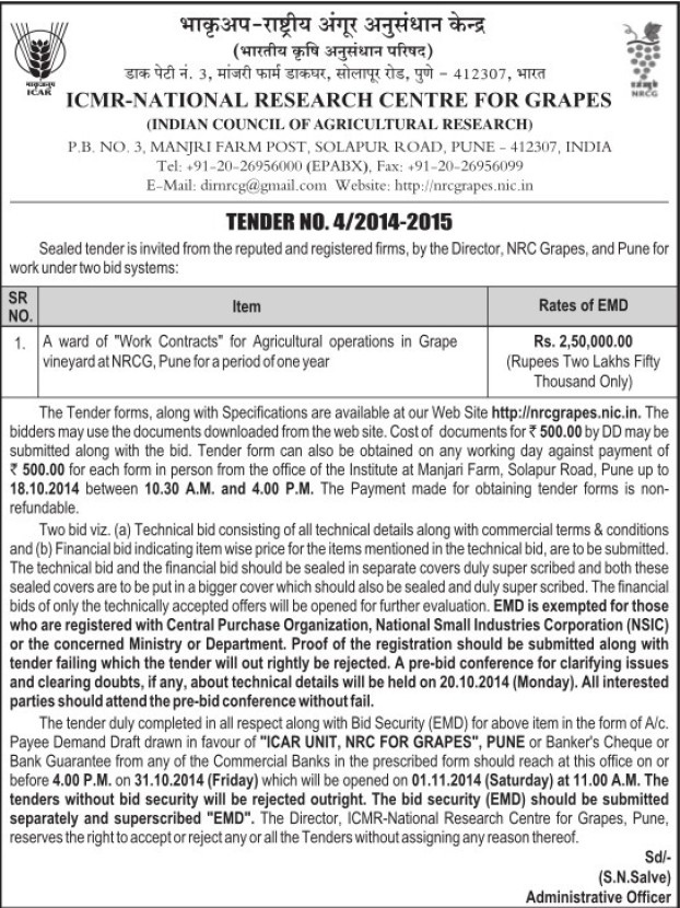 Work contracts for Agricultural operations (National Research Centre for Grapes (NRCG))