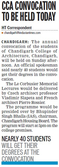 CCA convocation to be held today (Chandigarh College of Architecture)