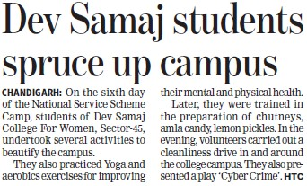 Dev Samaj students spruce up campus (Dev Samaj College for Women)