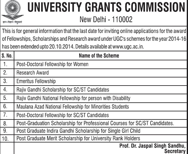 Post Doctoral fellowship for women (University Grants Commission (UGC))
