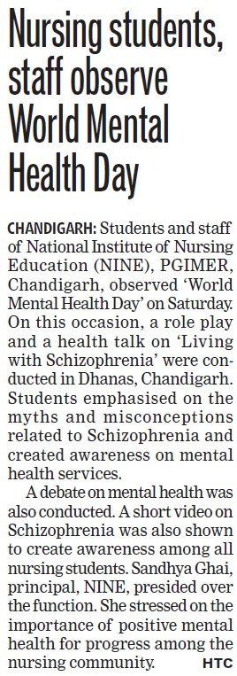 World Mental Health day celebrated (PGI Hospital National Institute of Nursing Education)