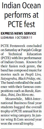 Indian Ocean performs at PCTE fest (Punjab College of Technical Education)