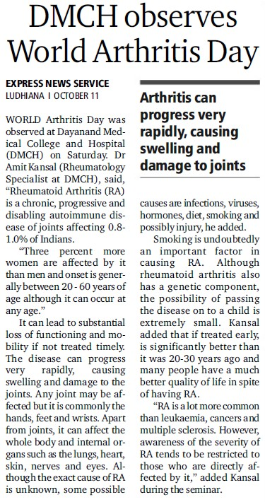 World Arthritis day celebrated (Dayanand Medical College and Hospital DMC)