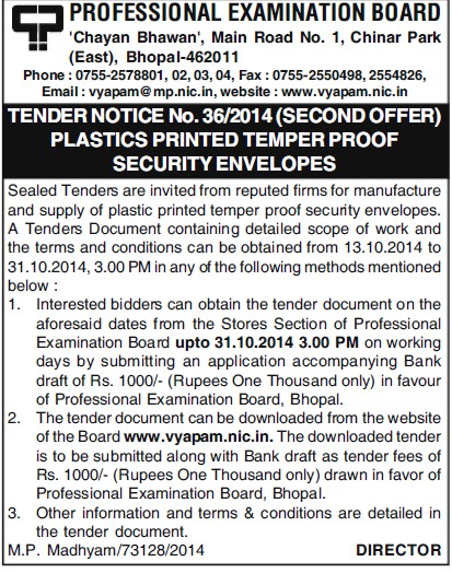 Supply of Platics printed temper proof security envelops (MP Professional Examinational Board)