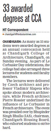 33 awarded degrees at CCA (Chandigarh College of Architecture)