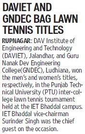 DAVIET and GNDEC bag lawn tennis tiles (DAV Institute of Engineering and Technology DAVIET)
