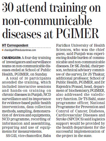 Training camp on non communicable diseases (Post-Graduate Institute of Medical Education and Research (PGIMER))