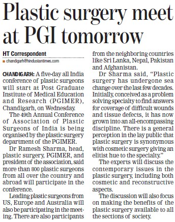 Platic surgery meet at PGI tomorrow (Post-Graduate Institute of Medical Education and Research (PGIMER))