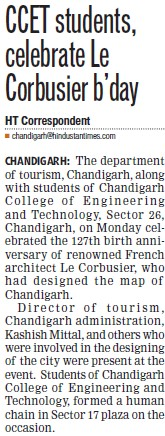 CCET students celebrate Le Corbusier birthday (Chandigarh College of Engineering and Technology (CCET))