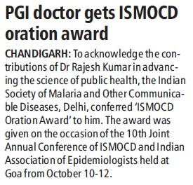 PGI doctor gets ISMOCD oration award (Post-Graduate Institute of Medical Education and Research (PGIMER))