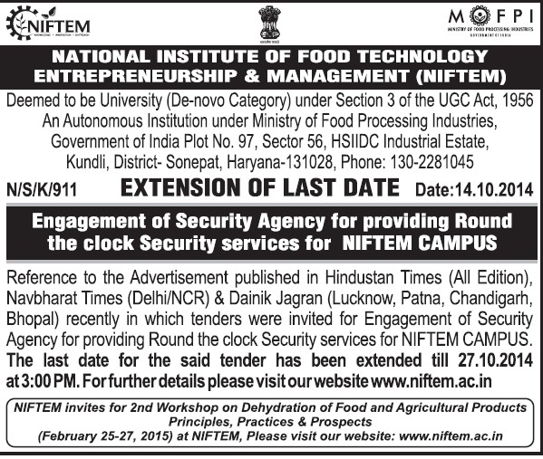 Security Services (National Institute of Food Technology Entrepreneurship and Management (NIFTEM))