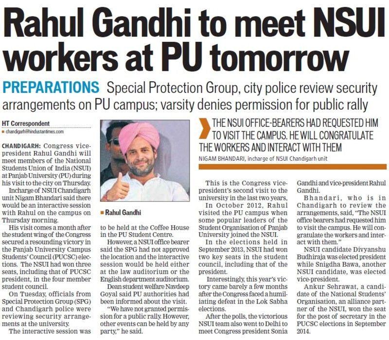 NSUI workers to meet NSUI workers at PU tomorrow (National Students Union of India NSUI Punjab)