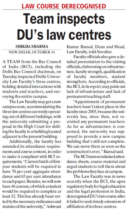 Team inspects DUs law centres (Delhi University)