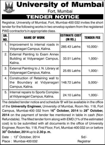 Improvement of internal roads (University of Mumbai (UoM))