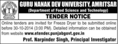 Supply of freeze dryer (Guru Nanak Dev University (GNDU))