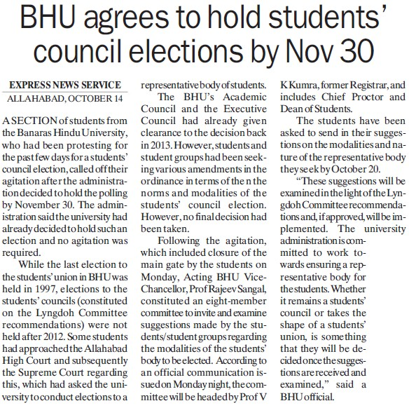 BHU agrees to hold students council elections (Banaras Hindu University)