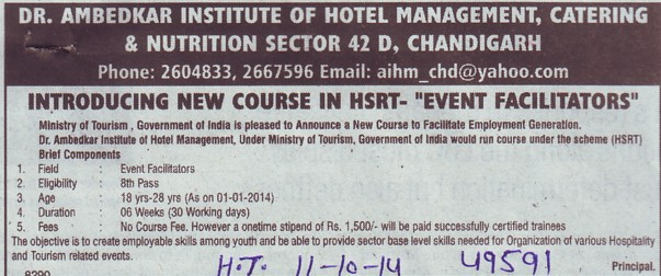 New course in HSRTS (Dr Ambedkar Institute of Hotel Management Catering and Nutrition)