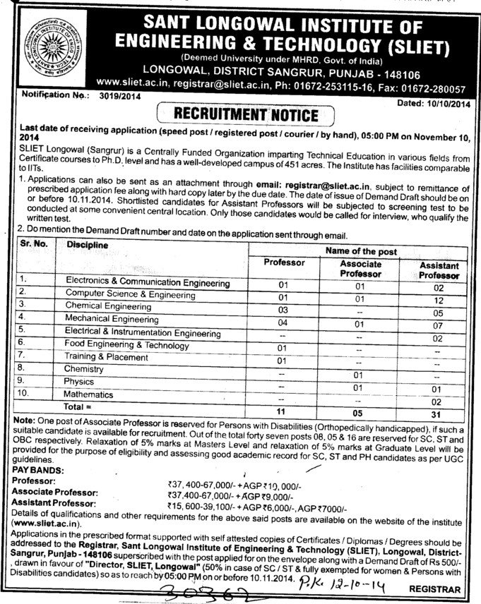 Asstt Professor for EEE (Sant Longowal Institute of Engineering and Technology SLIET)