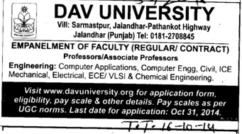 Asstt Professor on contract basis (DAV University)
