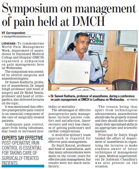 Symposium on management of pain held (Dayanand Medical College and Hospital DMC)