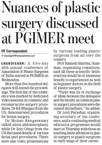Nuances of plastic surgery discussed (Post-Graduate Institute of Medical Education and Research (PGIMER))