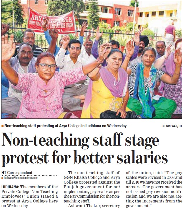 Non teaching staff stage protest for better salaries (Arya College)