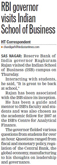 RBI governor visits Indian School of Business (Indian School of Business Chandigarh Mohali Campus)