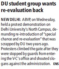 DU student gorup wants re evaluation back (Delhi University)