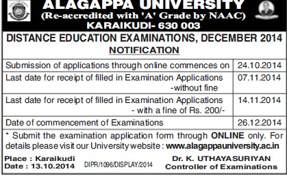 Distance Education Examination 2014 (Alagappa University)