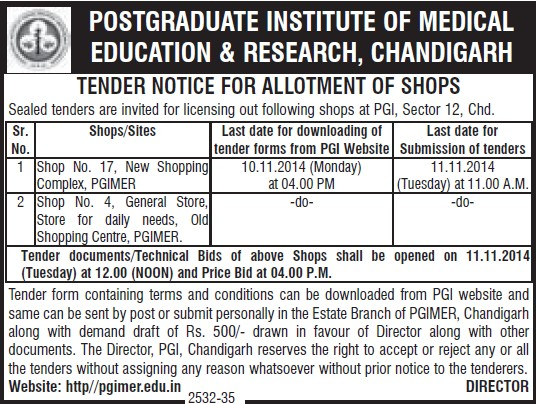 Allotment of shops (Post-Graduate Institute of Medical Education and Research (PGIMER))