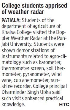 College students apprised of weather radar (Khalsa College)