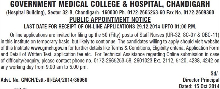 Staff Nurse (Government Medical College and Hospital (Sector 32))