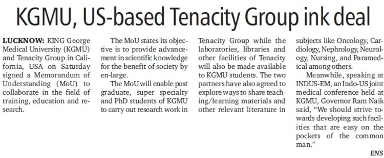 KGMU, US based Tenacity Group ink deal (KG Medical University Chowk)