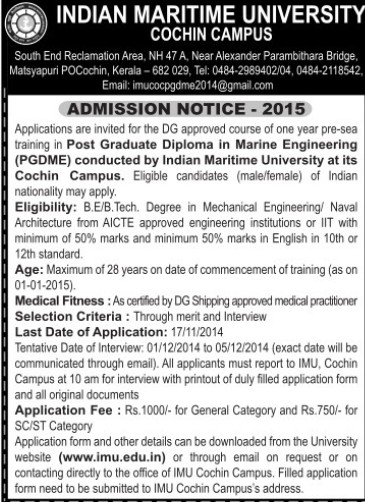 PGD in Marine Engineering (Indian Maritime University)