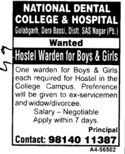 Hostel Warden for boys and girls (National Dental College and Hospital Gulabgarh)