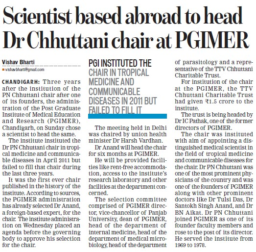 Scientist based abroad to head Dr Chhuttani Chair (Post-Graduate Institute of Medical Education and Research (PGIMER))
