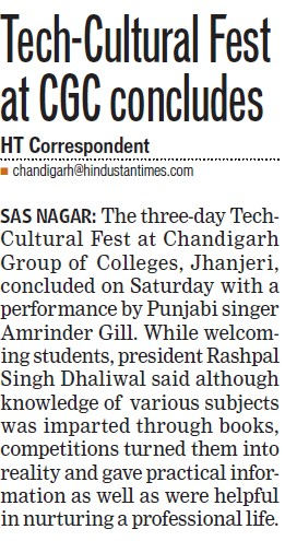 Tech Cultural fest held (Chandigarh Group of Colleges)