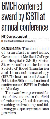 GMCH Conferred award by ISBTI (Government Medical College and Hospital (Sector 32))