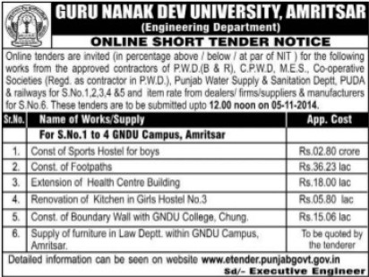 Construction of Sports Hostel for boys (Guru Nanak Dev University (GNDU))