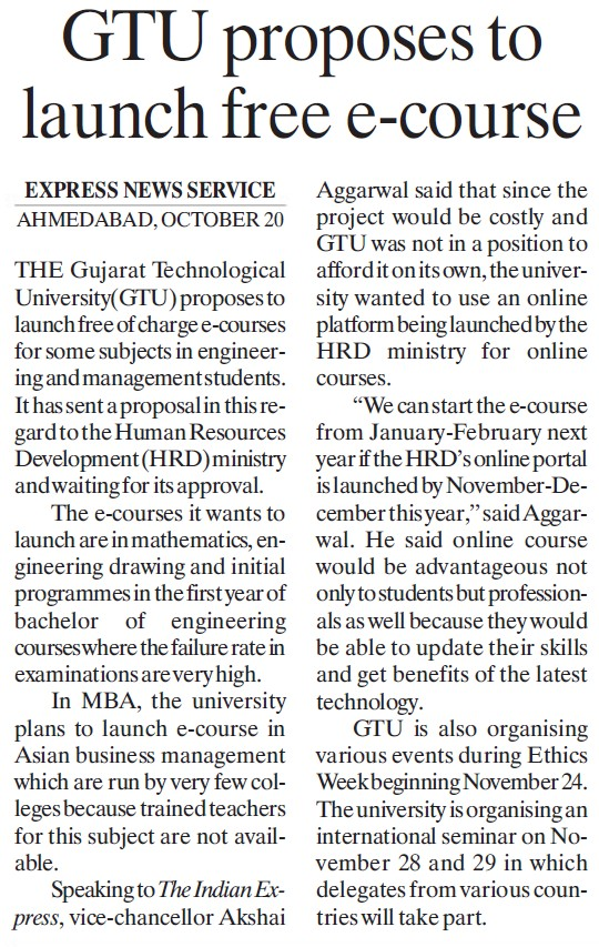 GTU Proposes to launch free e course (Gujarat Technological University)