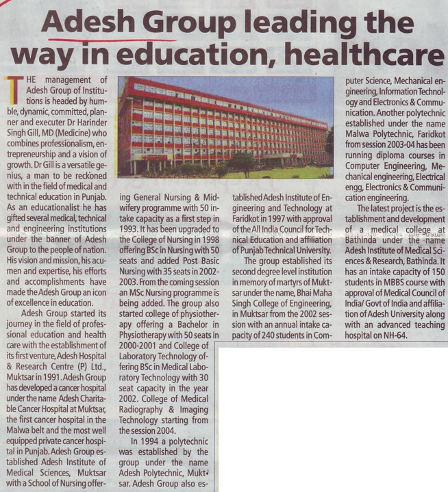 Adesh Group leading the way in Education (Adesh Group of Institutions)