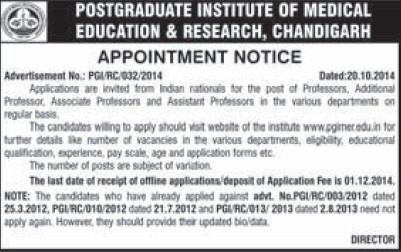 Professor and Asstt Professor (Post-Graduate Institute of Medical Education and Research (PGIMER))