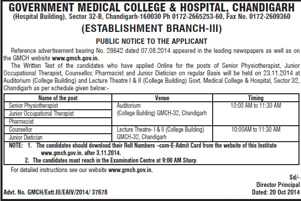 Senior Physiotherapist (Government Medical College and Hospital (Sector 32))